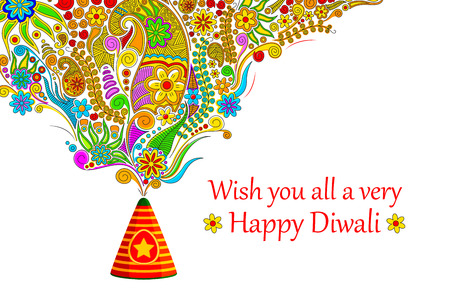 diwali celebration: illustration of floral design coming out from firecracker in Happy Diwali Illustration