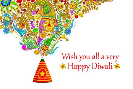 Illustration von floralen Design, die sich aus Feuerwerkskörper in Glückliches Diwali