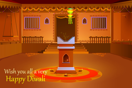 tulsi: illustration of Indian house decorated with diya in Diwali night