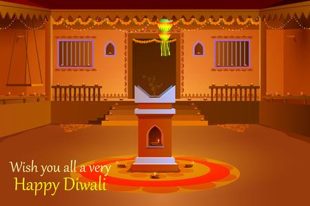 diya: illustration of Indian house decorated with diya in Diwali night