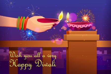 religious celebration: illustration of Indian lady with Diwali diya