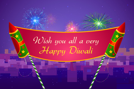 dipawali: illustration of colorful firecracker for Happy Diwali