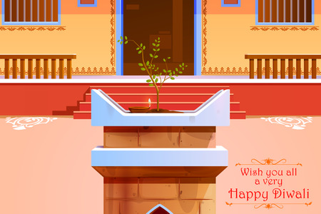 tulsi: illustration of Indian house decorated with diya in Diwali