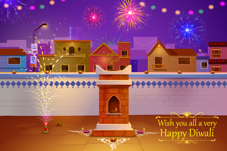 greeting people: illustration of Indian house decorated with diya in Diwali night