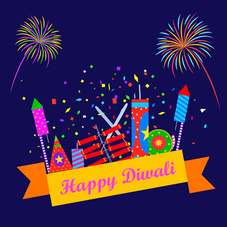 illustration of colorful firecracker for Happy Diwali