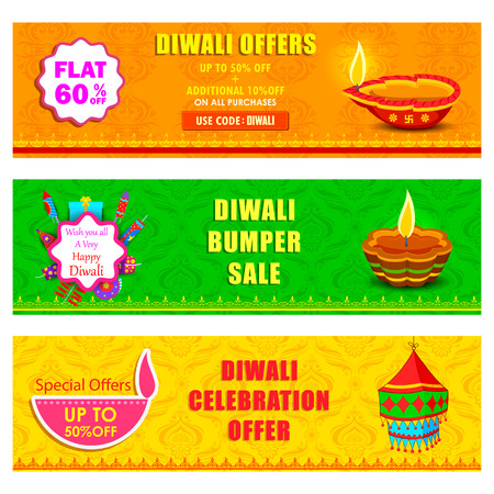 diwali: illustration of Happy Diwali holiday offer banner