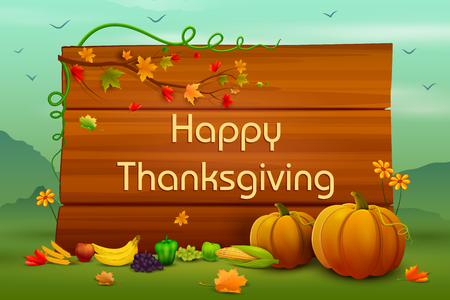 vector illustration of Happy Thanksgiving wallpaper background