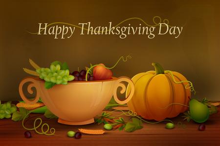 festival of the grape harvest: vector illustration of Happy Thanksgiving wallpaper background