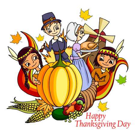 holiday invitation: vector illustration of Happy Thanksgiving doodle drawing background