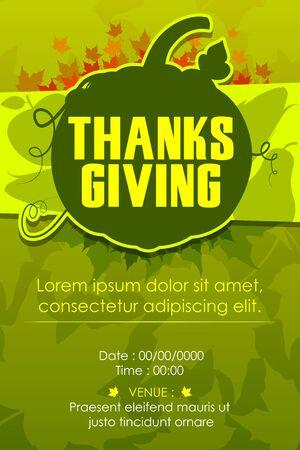 holiday invitation: vector illustration of Happy Thanksgiving Party invitation background