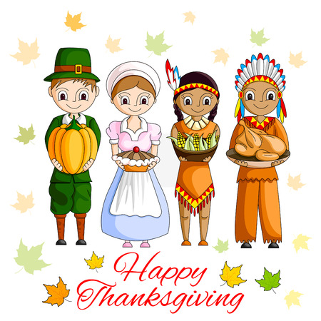 pilgrim costume: vector illustration of Happy Thanksgiving wallpaper background