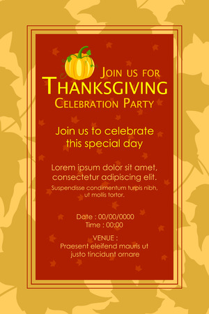 invitation background: vector illustration of Happy Thanksgiving Party invitation background