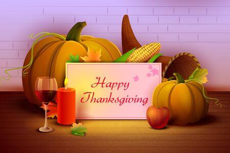 holiday invitation: vector illustration of Happy Thanksgiving wallpaper background