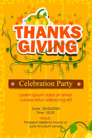 traditional background: vector illustration of Happy Thanksgiving Party invitation background