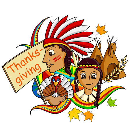 pilgrim costume: vector illustration of Happy Thanksgiving doodle drawing background