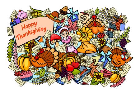 cuerno de la abundancia: ilustración vectorial de Happy Thanksgiving fondo dibujo del doodle
