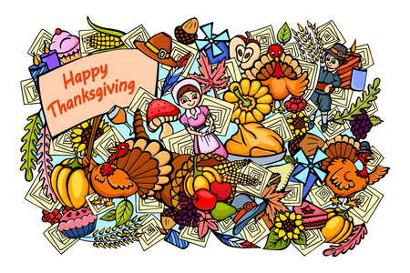 cornucopia: vector illustration of Happy Thanksgiving doodle drawing background
