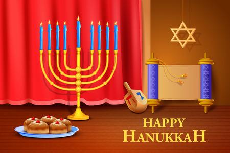 sukkot: vector illustration of manorah and dreidel on Israel festival, Happy Hanukkah background Illustration