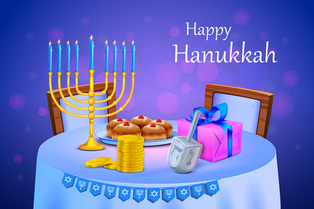 chanukah: vector illustration of menorah and gift in Israel festival Happy Hanukkah background