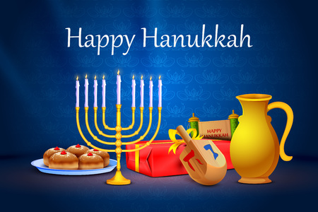 dreidel: vector illustration of menorah and gift in Israel festival Happy Hanukkah background