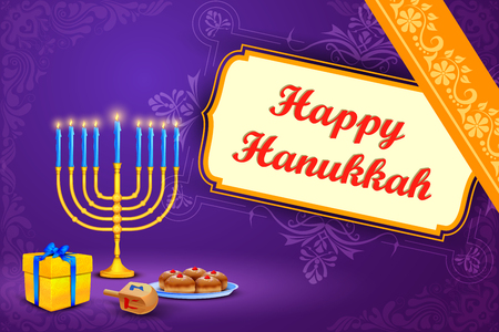 candelabrum: vector illustration of menorah and gift in Israel festival Happy Hanukkah background