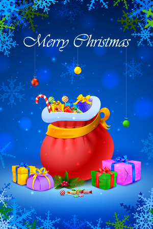 sacks: vector illustration of Santa sack and gift box for Merry Christmas Illustration