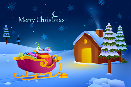 santa sack: vector illustration of decorated house for celebrating Merry Christmas