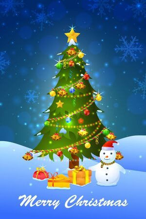 decorated christmas tree: vector illustration of snowman with decorated pine tree for Merry Christmas Illustration