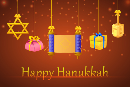 traditional background: vector illustration of blank torah with Star of David in Israel festival Happy Hanukkah background