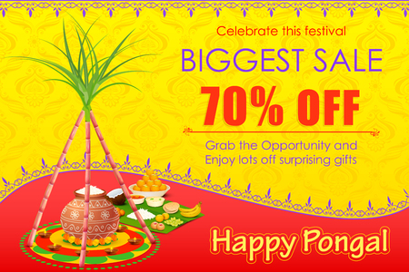 harvesting rice: vector illustration of Happy Pongal celebration shopping offer Illustration