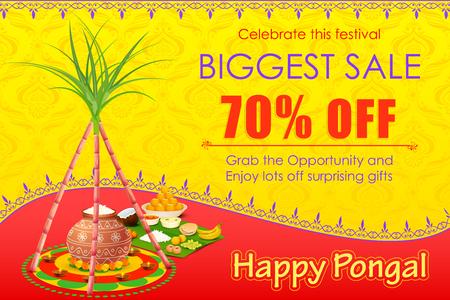 vector illustration of Happy Pongal celebration shopping offer Ilustração