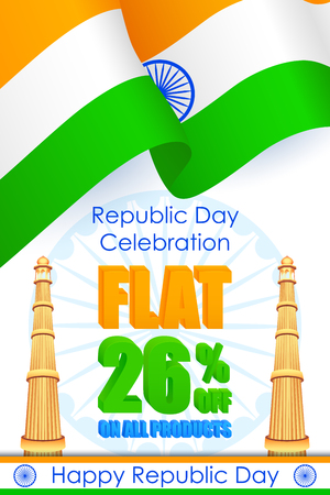 qutub minar: vector illustration of sale promotion and advertisement for Republic Day of India
