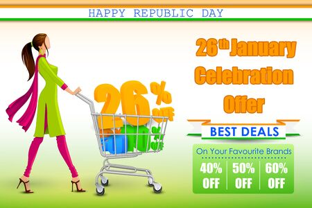 the day off: vector illustration of sale promotion and advertisement for Republic Day of India