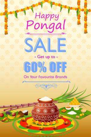 vector illustration of Happy Pongal celebration shopping offer 일러스트