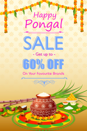 vector illustration of Happy Pongal celebration shopping offer Ilustrace