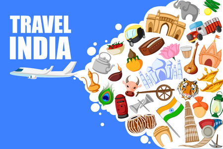 tours: vector illustration of concept on Travel India with different historical monument Illustration