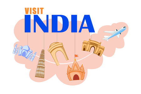 qutub minar: vector illustration of concept on Travel India with different historical monument Illustration