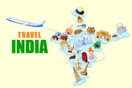 monument historical monument: vector illustration of concept on Travel India with different historical monument Illustration