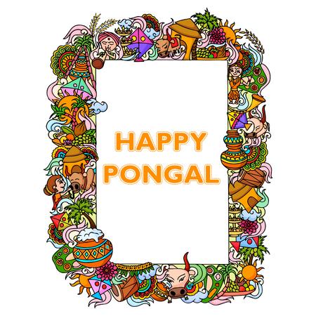 幸せ Pongal お祝い背景のベクトル イラスト  イラスト・ベクター素材