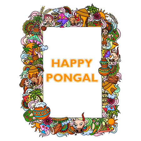 happy farmer: vector illustration of Happy Pongal celebration background
