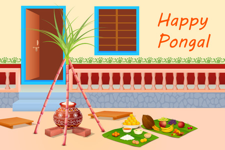 harvesting rice: vector illustration of Happy Pongal celebration background
