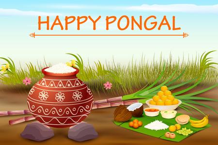 vector illustration of Happy Pongal celebration background