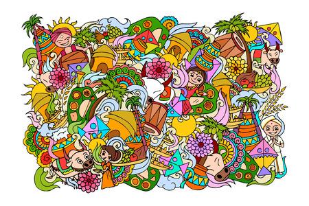 ilustracji wektorowych z okazji Pongal celebracji tle