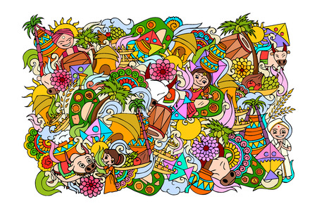 food concept: vector illustration of Happy Pongal celebration background