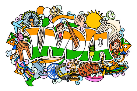 asoka: vector illustration of colorful doodle on India concept