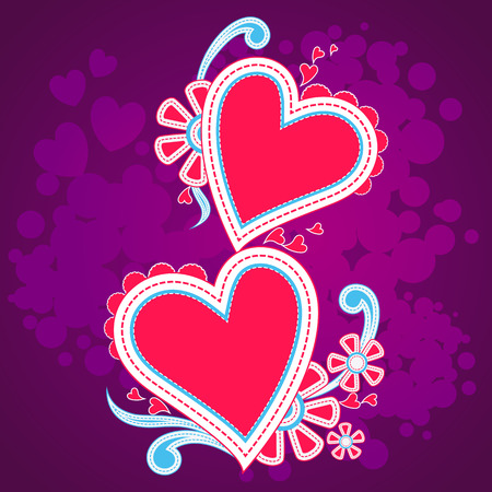 vector illustration of floral heart in Happy Valentines Day background