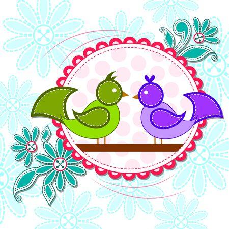 love bird: vector illustration of love bird in Happy Valentines Day background