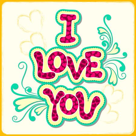 te amo: ilustraci�n vectorial de I Love You Valentine fondo
