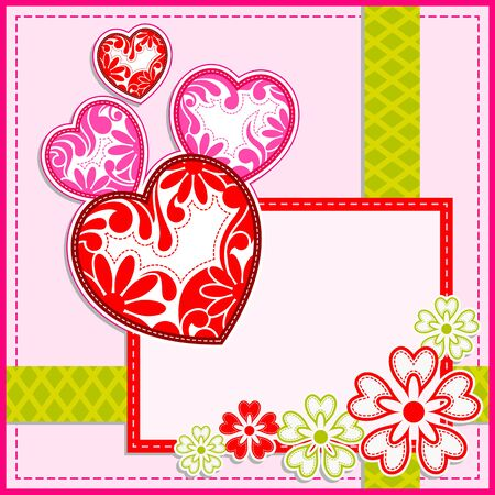 darling: vector illustration of floral heart in Happy Valentines Day background
