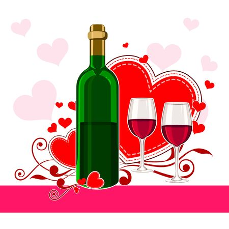 invitation background: vector illustration of champagne glass and bottle in Happy Valentines Day background